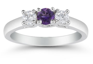 Three Stone Amethyst and Diamond Ring, 14K White Gold