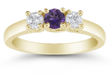 Three Stone Amethyst and Diamond Ring, 14K Gold