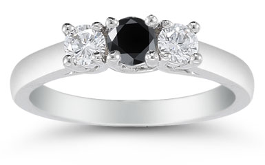 1/2 Carat Three Stone Black and White Diamond Ring, 14K White Gold