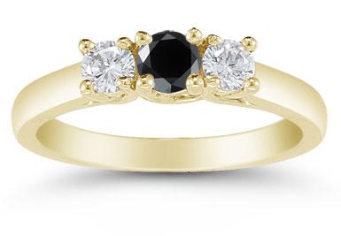 1/2 Carat Three Stone Black and White Diamond Ring, 14K Gold