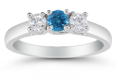 1/2 Carat Blue and White Diamond Three Stone Ring, 14K White Gold