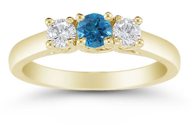 1/2 Carat Blue and White Diamond Three Stone Ring, 14K Gold