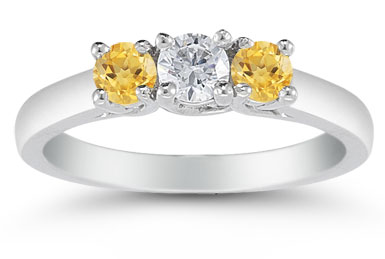 Three Stone Diamond and Citrine Ring, 14K White Gold