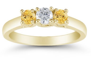 Three Stone Diamond and Citrine Ring, 14K Gold