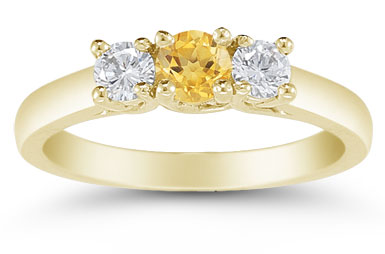 Three Stone Citrine and Diamond Ring, 14K Gold