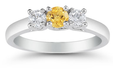 Three Stone Citrine and Diamond Ring, 14K White Gold