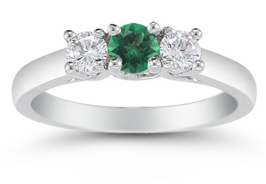 Three Stone Emerald and Diamond Ring, 14K White Gold