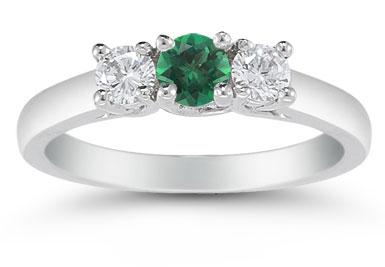 Three Stone Emerald and Diamond Ring, 14K White Gold