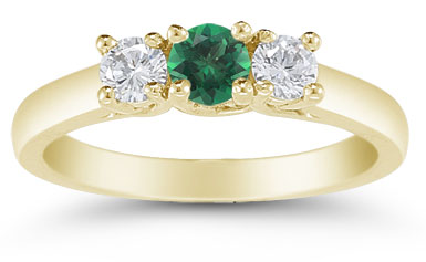 Three Stone Emerald and Diamond Ring, 14K Gold