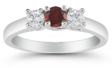 Three Stone Garnet and Diamond Ring, 14K White Gold