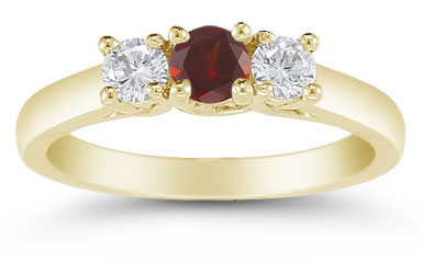 Three Stone Garnet and Diamond Ring, 14K Gold