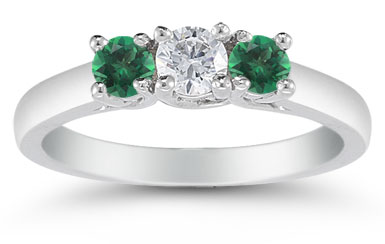 Three Stone Diamond and Emerald Ring, 14K White Gold