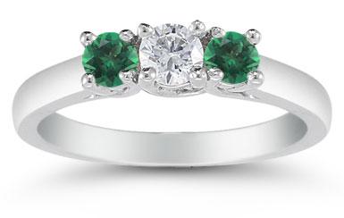Three Stone Diamond and Emerald Ring, 14K White Gold