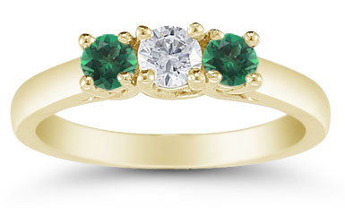 Three Stone Diamond and Emerald Ring, 14K Gold