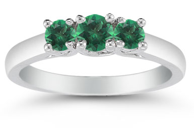 Three Stone Emerald Ring, 14K White Gold
