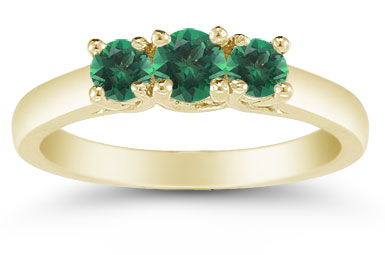 Three Stone Emerald Ring, 14K Gold