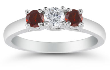 Three Stone Diamond and Garnet Ring, 14K White Gold