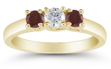 Three Stone Diamond and Garnet Ring, 14K Gold