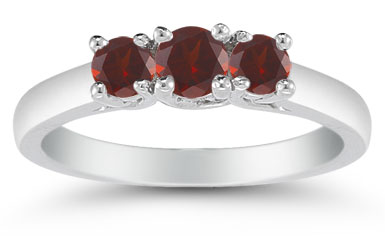Three Stone Garnet Ring, 14K White Gold