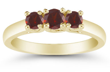 Three Stone Garnet Ring, 14K Gold