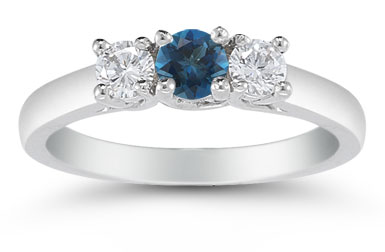 Three Stone London Blue Topaz and Diamond Ring, 14K White Gold