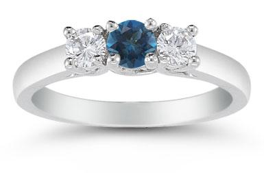 Three Stone London Blue Topaz and Diamond Ring, 14K White Gold