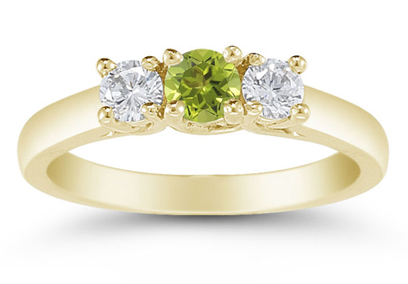 Three Stone Peridot and Diamond Ring, 14K Gold