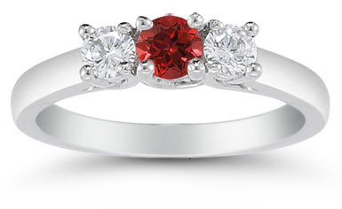 Three Stone Ruby and Diamond Ring, 14K White Gold
