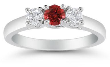 Three Stone Ruby and Diamond Ring, 14K White Gold