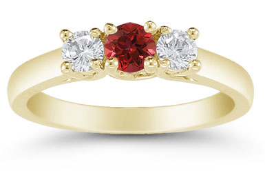 Three Stone Ruby and Diamond Ring, 14K Gold