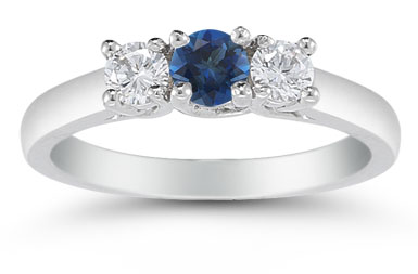 Three Stone Sapphire and Diamond Ring, 14K White Gold