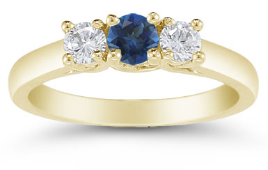 Three Stone Sapphire and Diamond Ring, 14K Gold