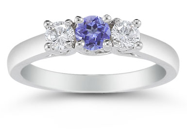 Three Stone Tanzanite and Diamond Ring, 14K White Gold