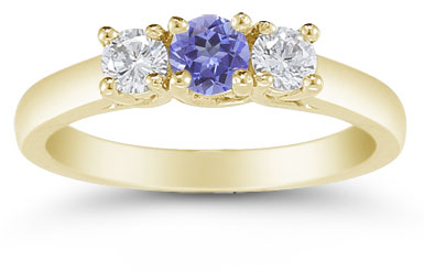 Three Stone Tanzanite and Diamond Ring, 14K Gold