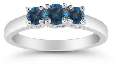 Three Stone London Blue Topaz Ring, 14K White Gold