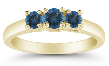 Three Stone London Blue Topaz Ring, 14K Gold