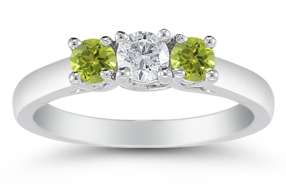 Three Stone Diamond and Peridot Ring, 14K White Gold