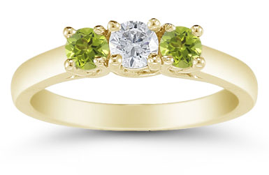 Three Stone Diamond and Peridot Ring, 14K Gold