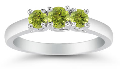 Three Stone Peridot Ring, 14K White Gold