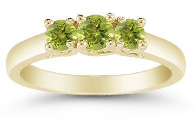 Three Stone Peridot Ring, 14K Yellow Gold