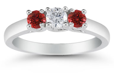 Three Stone Diamond and Ruby Ring, 14K White Gold