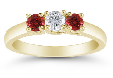 Three Stone Diamond and Ruby Ring, 14K Gold