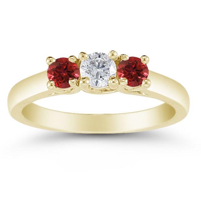 04b2624969dc Three Stone Diamond and Ruby Ring