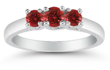 Three Stone Ruby Ring, 14K White Gold
