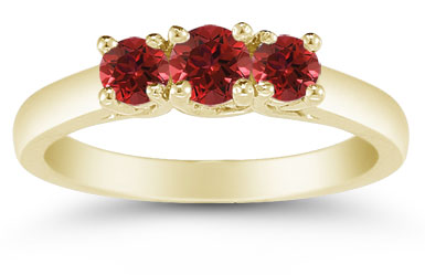 Three Stone Ruby Ring, 14K Gold
