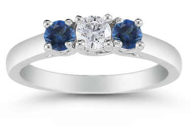 Three Stone Diamond and Sapphire Ring, 14K White Gold