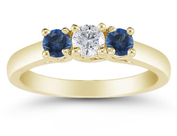 Three Stone Diamond and Sapphire Ring, 14K Gold