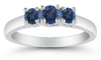Three Stone Sapphire Ring, 14K White Gold