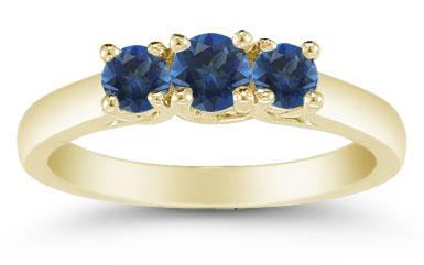 Three Stone Sapphire Ring, 14K Gold