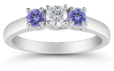 Three-Stone Diamond and Tanzanite Ring in 14k White Gold